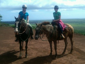 Kara Williams and Kristina Bingaman on horseback